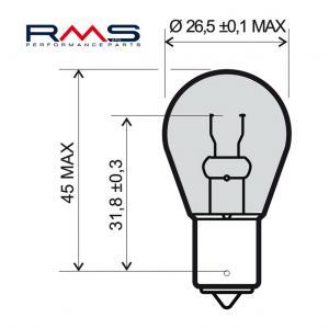 Žárovka RMS 246510195 12V 21W , P21W BA15S bílá