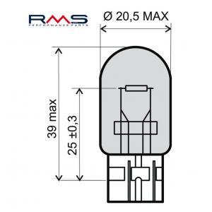Žárovka RMS 246510385 12V 21W, T20 bílá