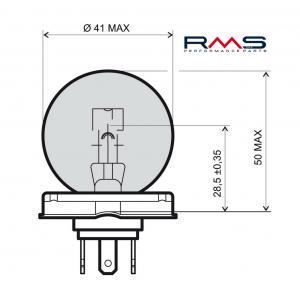 Žárovka RMS 246510105 12V 45/40W, P45T bílá