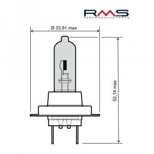 Žárovka RMS 246510110 12V 55W, H7 modrá
