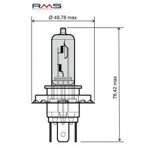 Žárovka RMS 246510050 12V 60/55W, H4 modrá