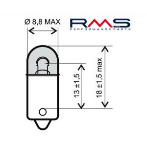 Žárovka RMS 246510335 6V 4W, T8.5 BA9S bílá