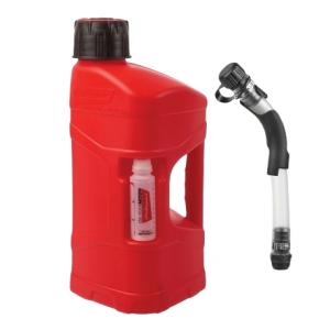 Kanystr POLISPORT PROOCTANE 10 l with standard cap + 100 ml mixer + hose průhledná červená