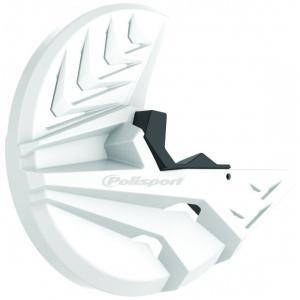 Kryt předního brzdového kotouče se spodním krytem vidlice POLISPORT PERFORMANCE bílá/černá