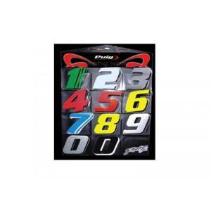 Samolepka PUIG RACING (0-9) 4040P stříbrná 115mm (10 units) výprodej