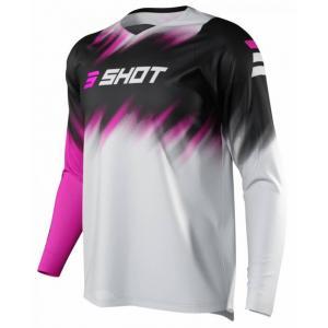 Dětský motokrosový dres Shot Devo Versus šedo-černo-růžový