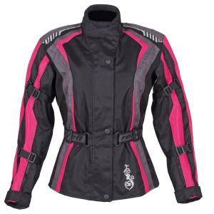 Moto bunda dámská Roleff Estretta černo-růžovo-šedá