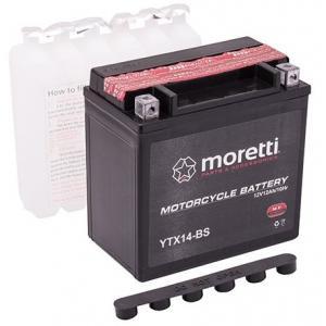 Bezúdržbová motocyklová baterie Moretti MTX14-BS, 12V 12Ah výprodej
