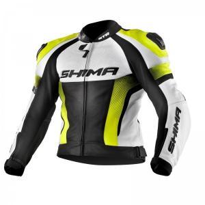 Bunda na motorku Shima STR černo-bílo-fluo žlutá výprodej