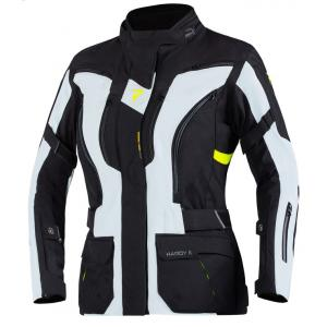 Dámská bunda na motorku Rebelhorn Hardy II šedo-černo-fluo žlutá