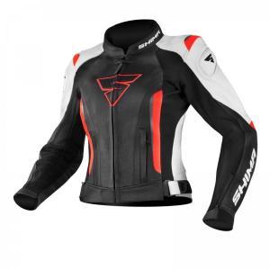 Dámská bunda na motorku Shima Miura černo-bílo-fluo červená