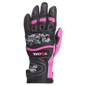 Dámské rukavice na motorku Tschul 301 černo-růžové