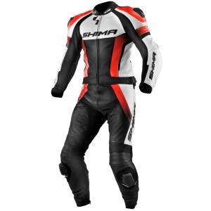 Kombinéza na motorku Shima STR černo-bílo-fluo červená výprodej