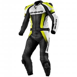 Kombinéza na motorku Shima STR černo-bílo-fluo žlutá výprodej