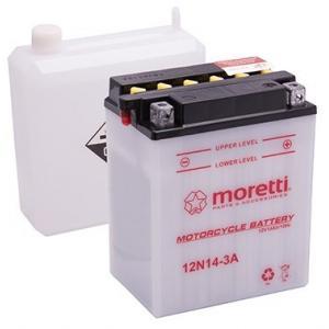 Konvenční motocyklová baterie Moretti 12N14-3A, 12V 14Ah