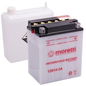 Konvenční motocyklová baterie Moretti 12N5,5-4A, 12V 5,5Ah