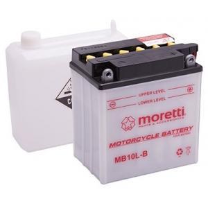 Konvenční motocyklová baterie Moretti MB10L-B, 12V 11Ah