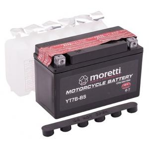 Konvenční motocyklová baterie Moretti MT7B-BS, 12V 6,5Ah