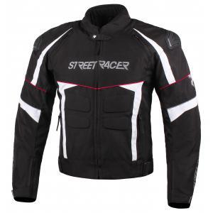 Bunda na motorku Street Racer Spark černo-bílo-červená
