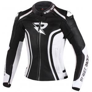 Dámská bunda na motorku Street Racer Electra černo-bílá