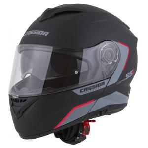 Vyklápěcí přilba na motorku Cassida Compress 2.0 Refraction černo-šedo-červená