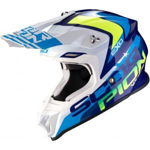 Motokrosová přilba Scorpion VX-16 Air Nation modro-bílo-fluo žlutá