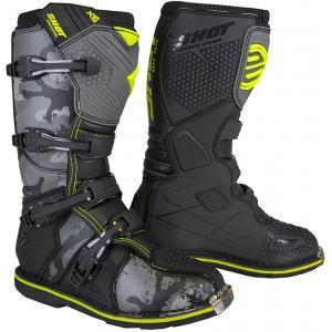 Dětské boty na motorku Shot K10 2.0 černo-camo-fluo žluté