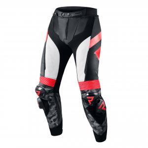 Kalhoty na motorku Rebelhorn Rebel černo-bílo-fluo červené výprodej