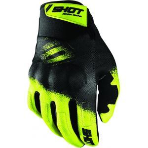 Motokrosové rukavice Shot Drift Smoke černo-fluo žluté