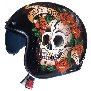 Otevřená přilba na motorku MT LeMans 2 SV SKULL&ROSES černo-červená