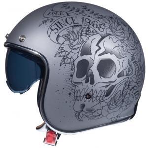 Otevřená přilba na motorku MT LeMans 2 SV SKULL&ROSES šedá matná