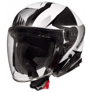 Otevřená přilba na motorku MT Thunder 3 SV Wing černo-bílo-stříbrná