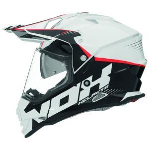 Enduro přilba NOX N312 Crow bílo-černo-červená