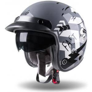 Otevřená přilba na motorku Cassida Oxygen Badass šedo-bílo-černá