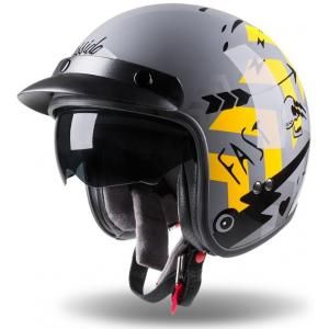 Otevřená přilba na motorku Cassida Oxygen Badass šedo-černo-žlutá