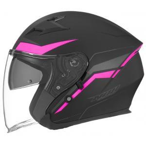 Otevřená přilba na motorku NOX N127 Late černo-růžová