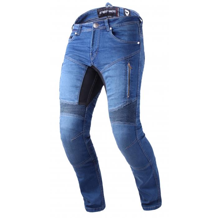 Zkrácené jeansy na motorku Street Racer Stretch II CE modré