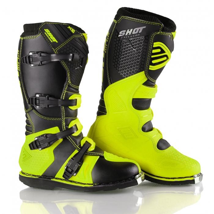 Boty na motorku Shot X10 černo-fluo žluté výprodej