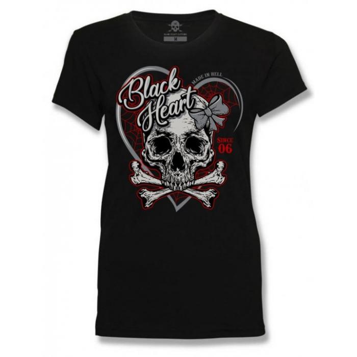 Dámské triko Black Heart Ribon Skull