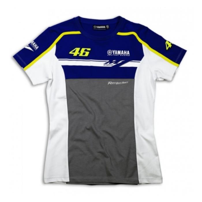 Dámské triko VR46 Valentino Rossi Yamaha Dual modro-šedé