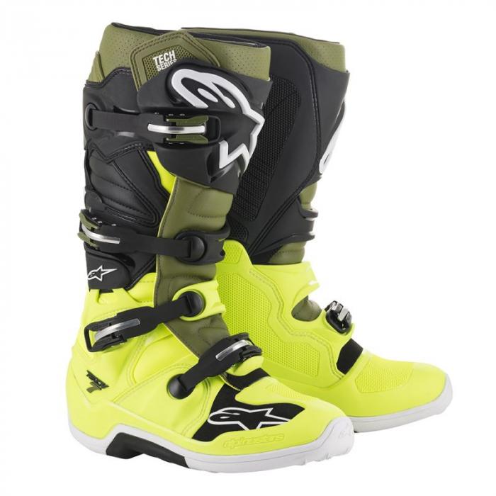 Dětské boty na motorku Alpinestars Tech 7 S černo-zeleno-fluo žluté