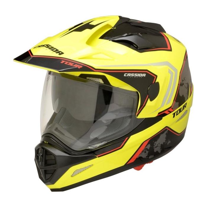 Enduro přilba Cassida Tour Globe černo-fluo žluto-červená výprodej