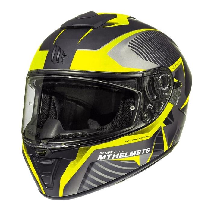 Integrální přilba na motorku MT Blade 2 SV Blaster černo-šedo-fluo žlutá