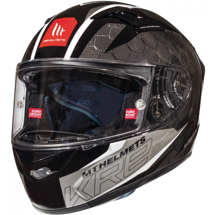 Integrální přilba na motorku MT Kre Snake Carbon 2.0 černo bílá výprodej