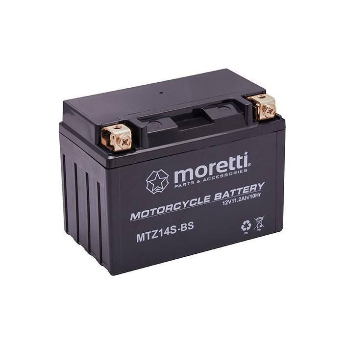 Konvenční motocyklová baterie Moretti MTZ14-BS, 12V 11Ah