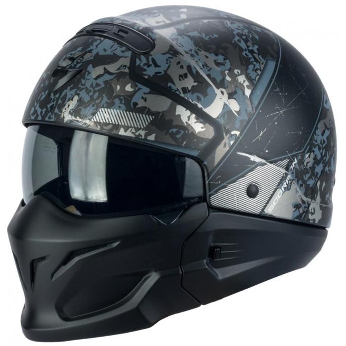 Moto přilba Scorpion EXO-Combat Opex černo-stříbrná výprodej