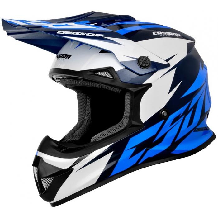 Motokrosová přilba Cassida Cross Cup Two černo-bílo-modrá