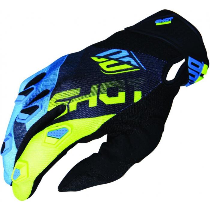 Motokrosové rukavice Shot DEVO Ultimate modro-fluo žluté výprodej
