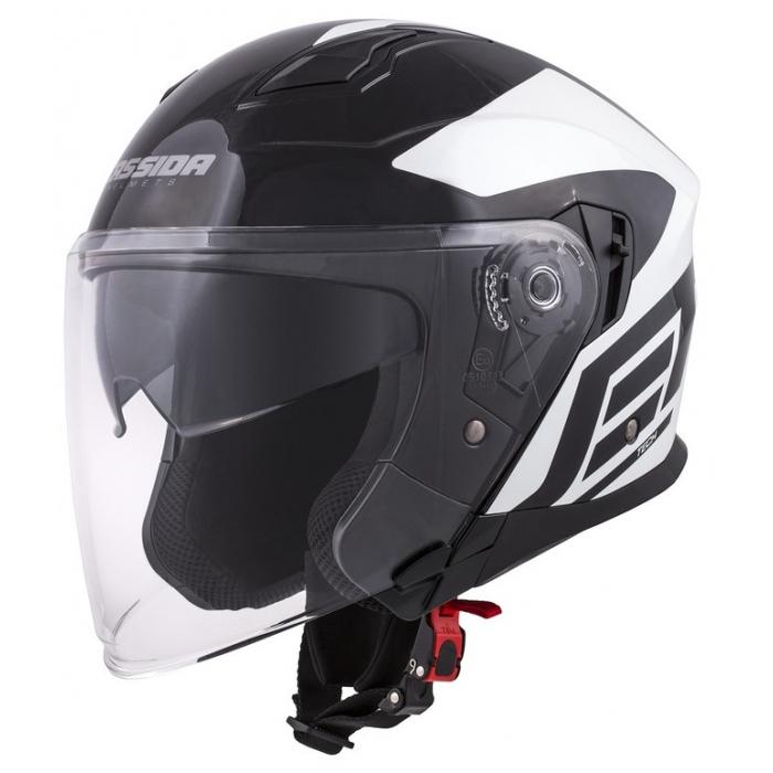 Otevřená přilba na motorku Cassida Jet Tech Corso černo-bílá