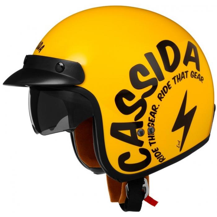 Otevřená přilba na motorku Cassida Oxygen Gear žluto-černá